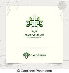 disegno, concetto, giardinaggio, natura, attrezzi, foglie, usato, piantagione, sistemi, products., verde, vector., logotipo, contadino, agricolo, agricoltura, icona