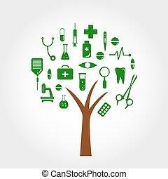 disegno, concetto medico, albero, tuo