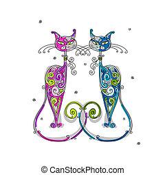 disegno, coppia, gatti, silhouette, tuo