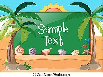 disegno, cornice, spiaggia, tema