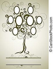 disegno, cornice, vettore, albero, famiglia