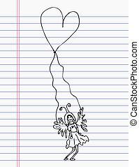 disegno, cuore, con, angolo, su, carta