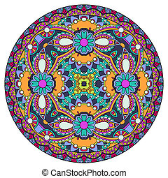 disegno decorativo, di, cerchio, piatto, pietanza, sagoma,...