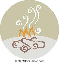 disegno, di, uno, incendio campo