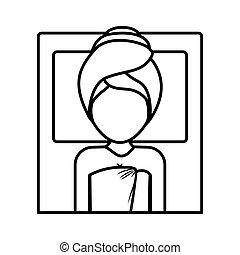 disegno, donna, asciugamano, centro, terme