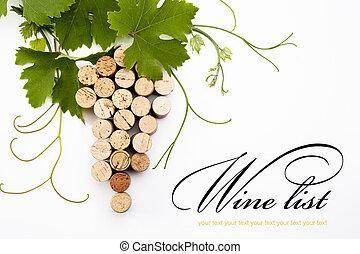 disegno, elenco, fondo, vino