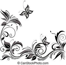 disegno floreale, bianco, nero