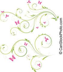 disegno floreale, con, fiori dentellare