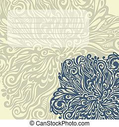 disegno floreale, elemento, vendemmia, stile