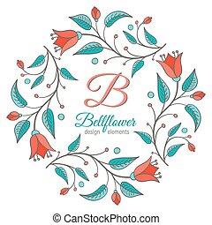 disegno floreale, matrimonio, elemento, bellflower