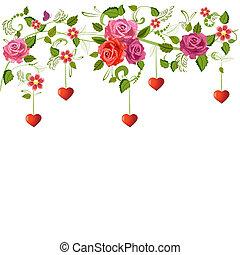 disegno floreale, ornamento, tuo, cuori