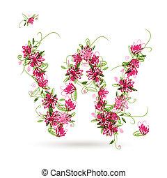 disegno floreale, w, lettera, tuo