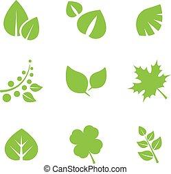 disegno, foglie, set, verde, elements.