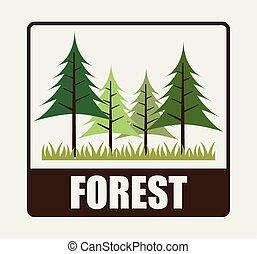 disegno, foresta, campeggio