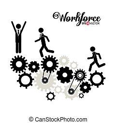 disegno, forza lavoro, affari