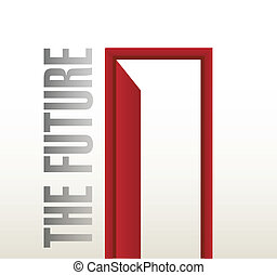 disegno, futuro, porta, illustrazione