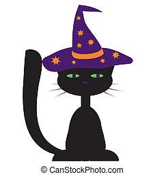 disegno, gatto, halloween, nero
