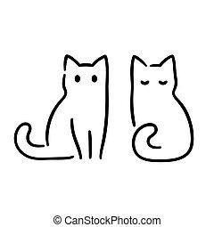 disegno, gatto, minimo