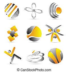 disegno, giallo, icone affari