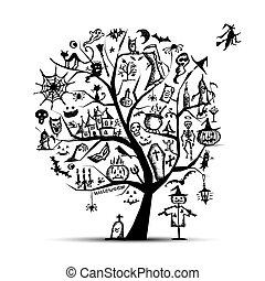 disegno, halloween, albero, tuo