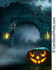 disegno, halloween, fondo, festa
