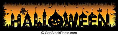 disegno, halloween, tuo, fondo, festa
