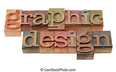 disegno, in, letterpress, tipo