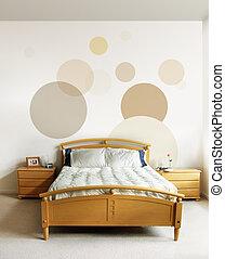 disegno, in, moderno, camera letto