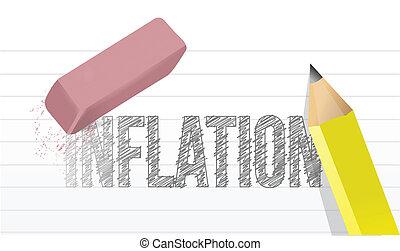 disegno, inflazione, concetto, cancellare, illustrazione