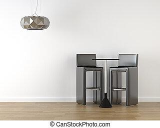 disegno interno, bianco, nero, sgabelli