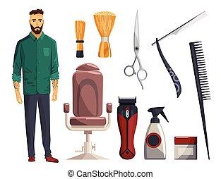 disegno, items., barbiere, pettine, rasoio, razor., modello, equipments., clipper, capelli, diritto, uomo, lama, accessori, salone, vendemmia, salone, negozio, set, forbici, elements., tagli capelli