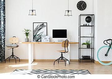 disegno, lavorante, remoto, ufficio