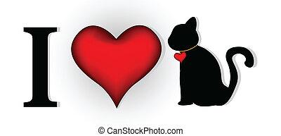 disegno, lei, amore, gatto
