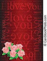 disegno, lei, fiori, amore, illustrazione