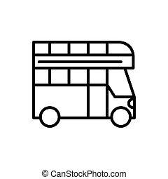 disegno lineare, doppio, autobus, trasporto, ponte