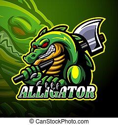 disegno, logotipo, mascotte, alligatore, esport