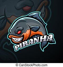 disegno, logotipo, mascotte, esport, piranha