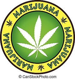 disegno, marijuana, emblema, foglia canapa, distintivo