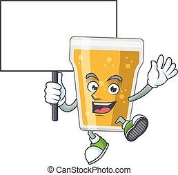 disegno, mascotte, carino, birra, alzarsi, su, tazza, asse, smiley