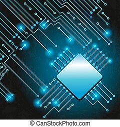disegno, moderno, circuito elettronico
