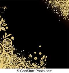 disegno, nero, oro, fondo