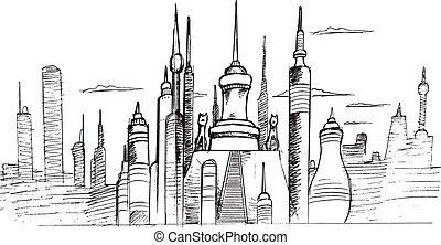 disegno, orizzonte, vettore, città, schizzo