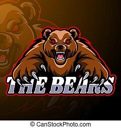 disegno, orso, logotipo, mascotte, esport