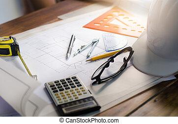 disegno,  -, piano, tecnico, progetto, fondo, ingegneria, costruzione, architetto, Posto lavoro, architettonico, attrezzi