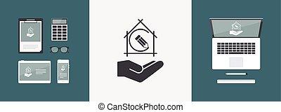 disegno progetto, concetto, -, appartamento, minimo, icona