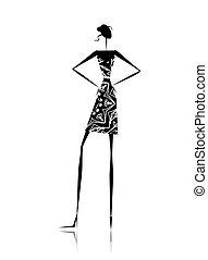 disegno, ragazza, moda, silhouette, tuo