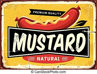 disegno, retro, etichetta, promozionale, senape
