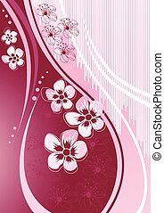 disegno, sakura, onda