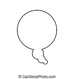 disegno scatola, silhouette, bolla, dialogo