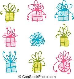 disegno scatola, tuo, regalo, icone